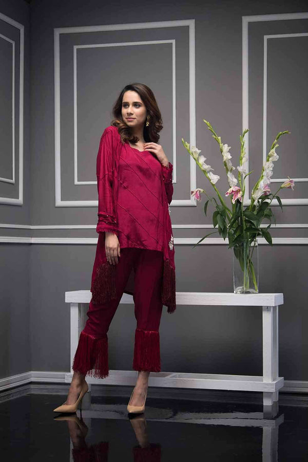 Luxury Pret, Pakistani Fashion Designer CHERRY RED - Phatyma Khan