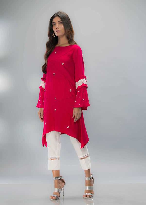 Luxury Pret, Pakistani Fashion Designer ROSE PINK - Phatyma Khan