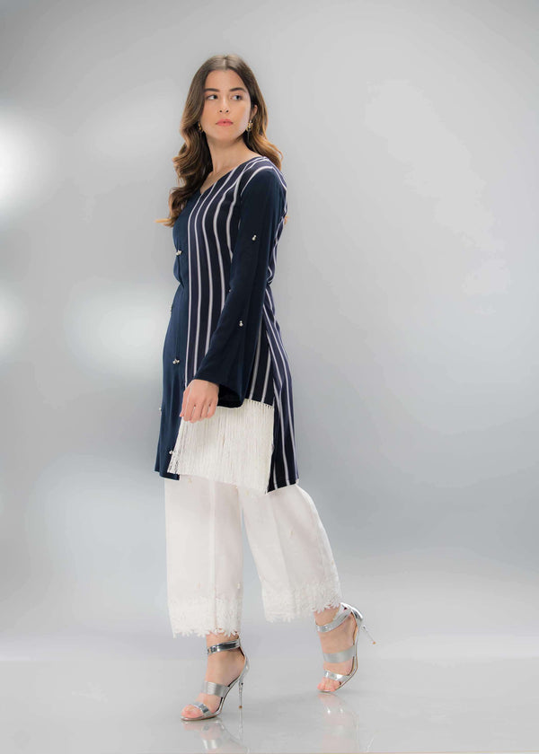 Luxury Pret, Pakistani Fashion Designer BLUE STRIPES - Phatyma Khan