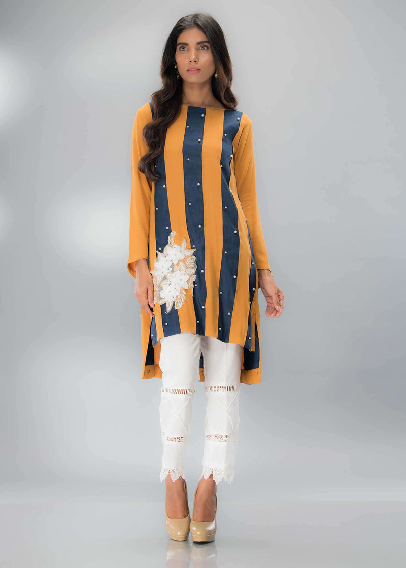 Luxury Pret, Pakistani Fashion Designer MUSTARD BLUE - Phatyma Khan
