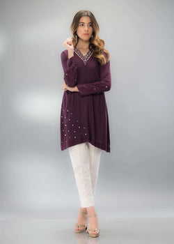 Luxury Pret, Pakistani Fashion Designer CHIC PLUM - Phatyma Khan
