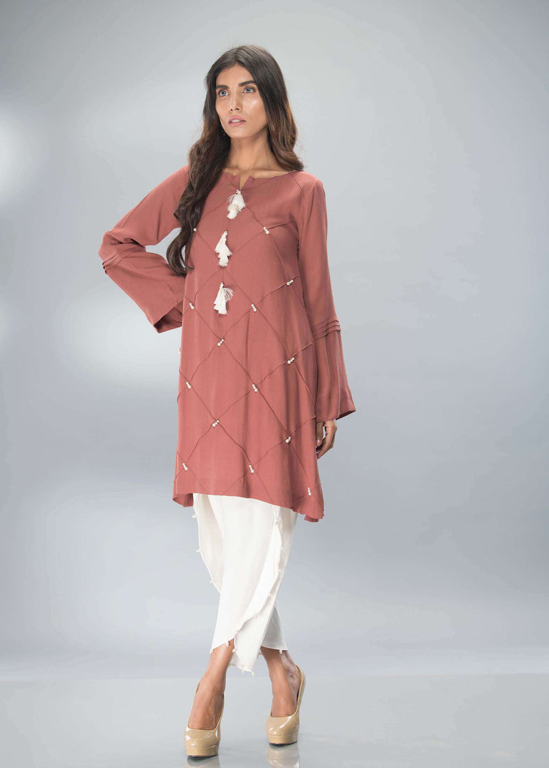 Luxury Pret, Pakistani Fashion Designer DUSKY BROWN - Phatyma Khan