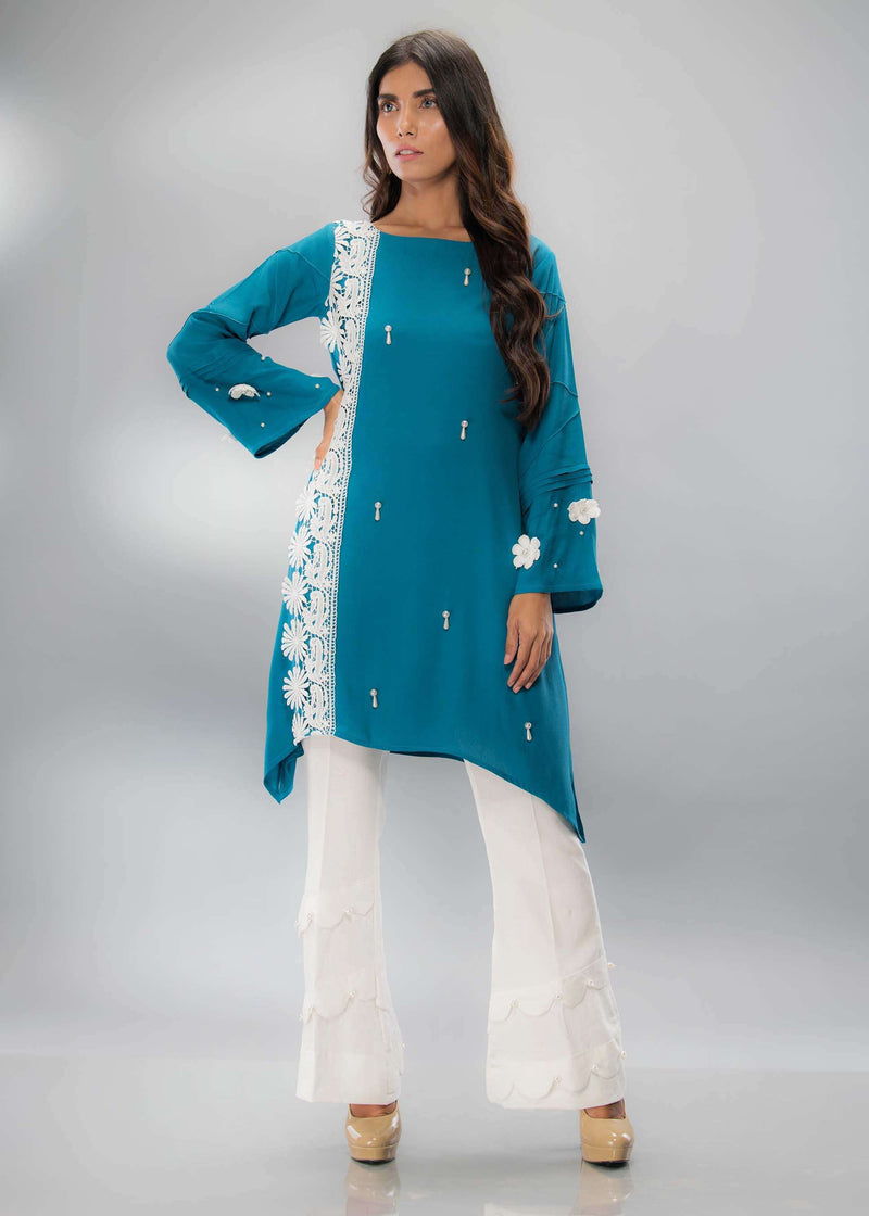 Luxury Pret, Pakistani Fashion Designer BOTTLE BLUE - Phatyma Khan