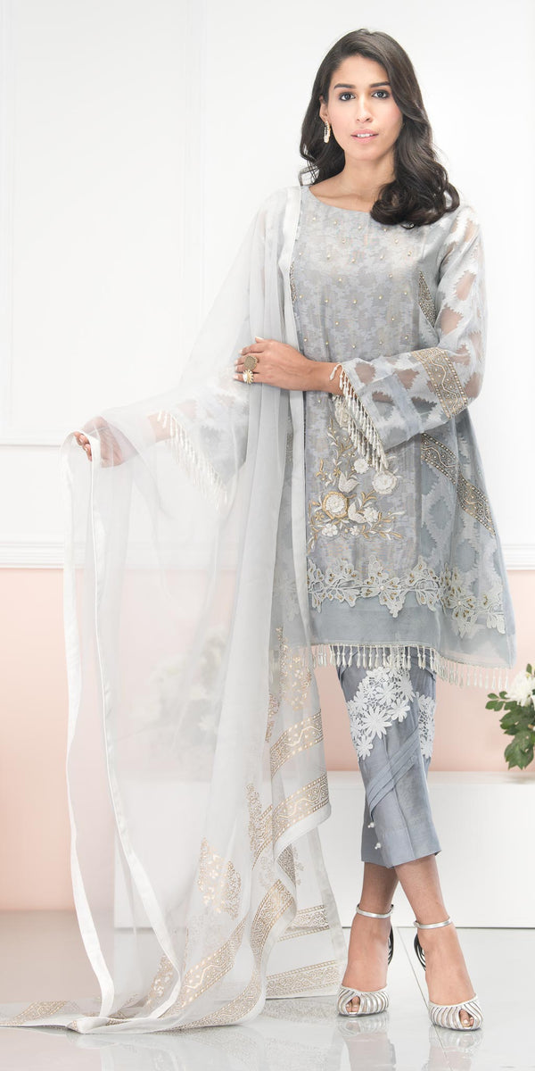 Luxury Pret, Pakistani Fashion Designer ALLURE GREY - Phatyma Khan