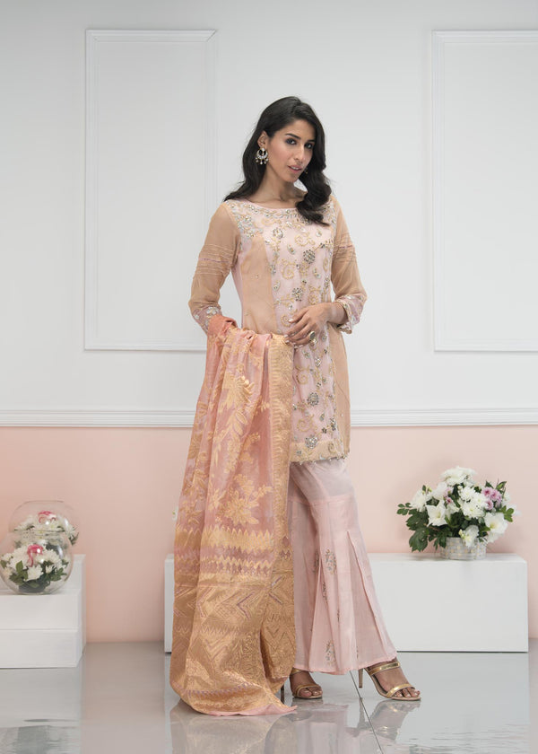 Luxury Pret, Pakistani Fashion Designer PEACH GLITZ - Phatyma Khan