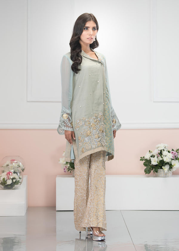 Luxury Pret, Pakistani Fashion Designer GLACIER GREEN - Phatyma Khan