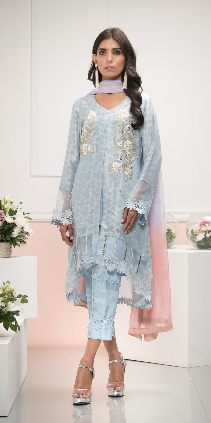 Luxury Pret, Pakistani Fashion Designer MARINE BLUE - Phatyma Khan