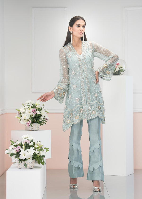 Luxury Pret, Pakistani Fashion Designer SPLENDID AQUA - Phatyma Khan