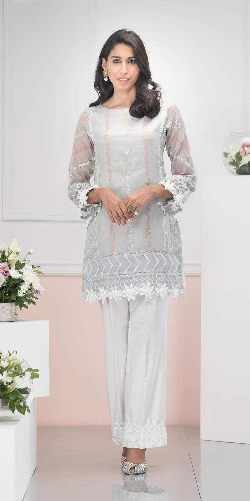 Luxury Pret, Pakistani Fashion Designer DOVE GREY - Phatyma Khan