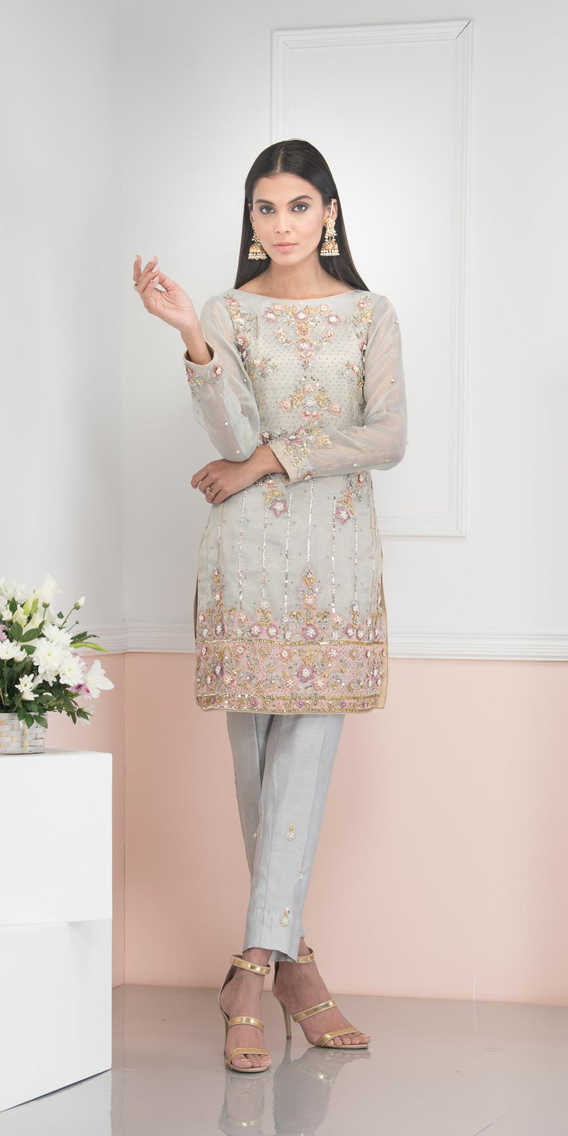Luxury Pret, Pakistani Fashion Designer DUSK GREY - Phatyma Khan