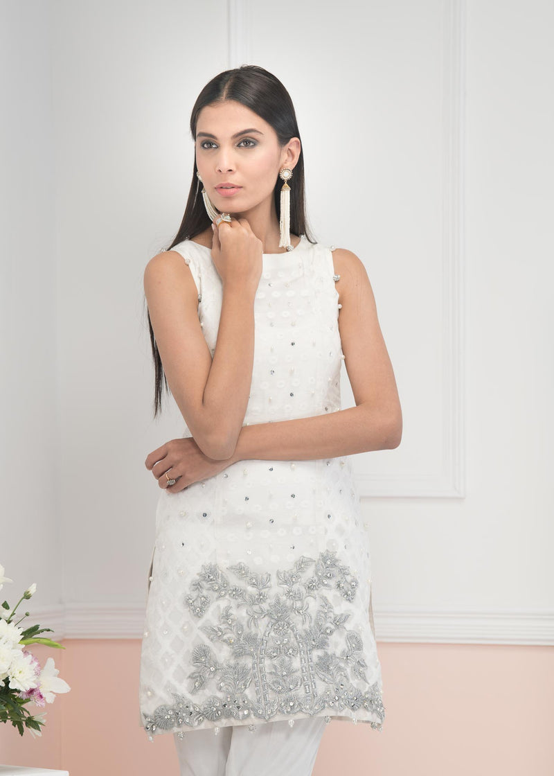 Luxury Pret, Pakistani Fashion Designer SENSATIONAL WHITE - Phatyma Khan