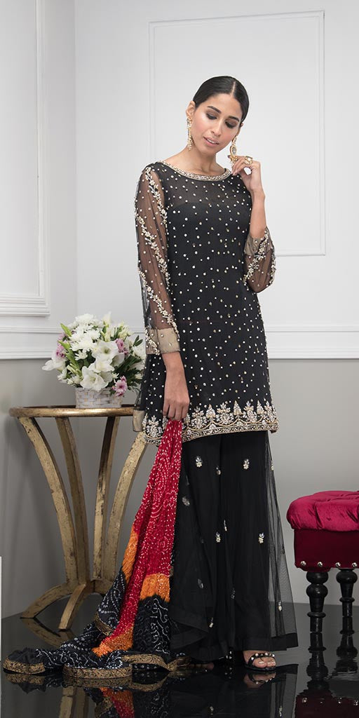 Luxury Pret, Pakistani Fashion Designer MATTE BLACK - Phatyma Khan