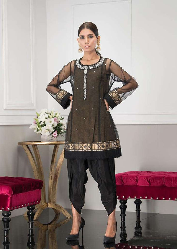 Luxury Pret, Pakistani Fashion Designer MIDNIGHT BLACK - Phatyma Khan