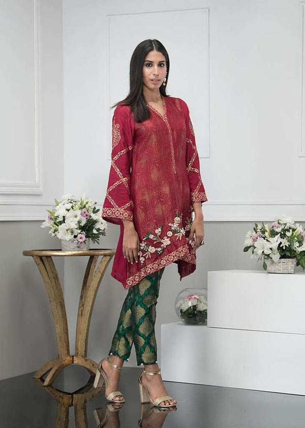 Luxury Pret, Pakistani Fashion Designer REGAL RED - Phatyma Khan