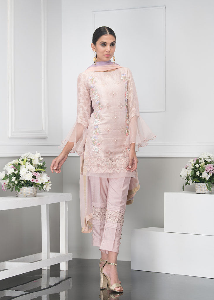 Luxury Pret, Pakistani Fashion Designer MAUVE PINK - Phatyma Khan