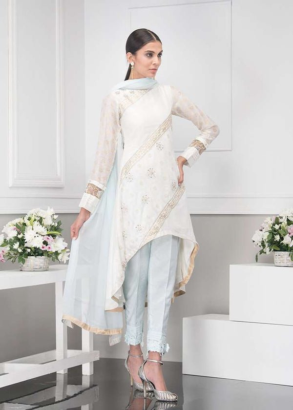 Luxury Pret, Pakistani Fashion Designer TRAIL WHITE - Phatyma Khan