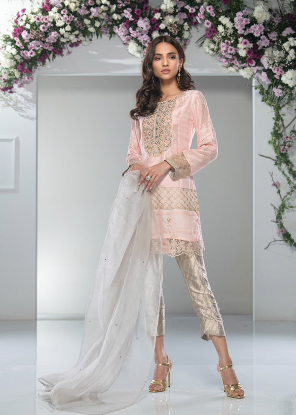 Luxury Pret, Pakistani Fashion Designer PEACH MIST - Phatyma Khan