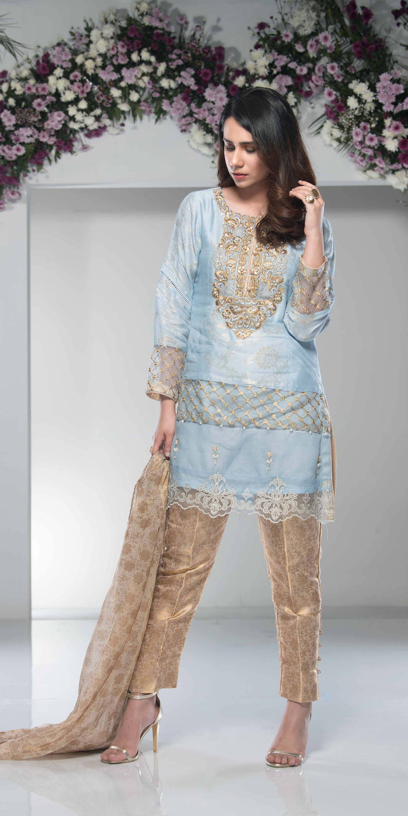 Luxury Pret, Pakistani Fashion Designer COPPER BLUE - Phatyma Khan