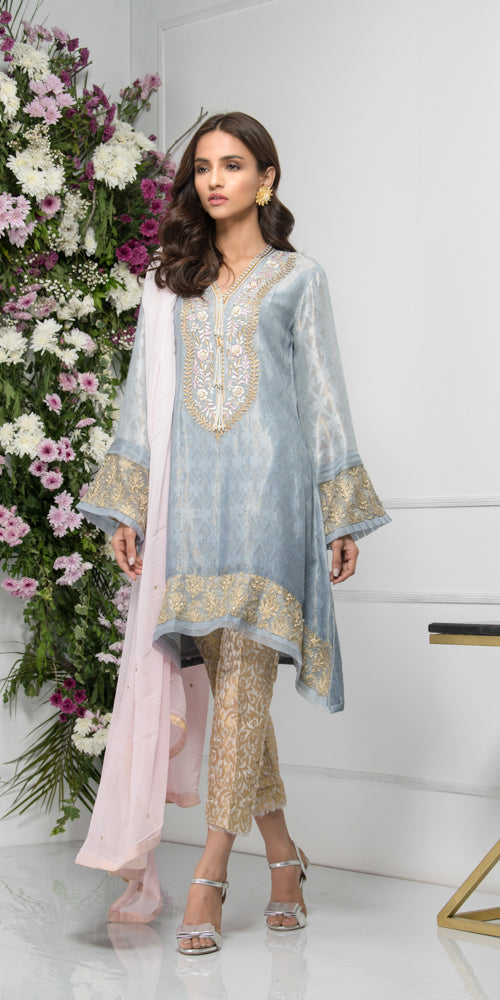 Luxury Pret, Pakistani Fashion Designer CHAMPAGNE GREY - Phatyma Khan