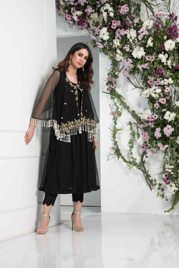 Luxury Pret, Pakistani Fashion Designer SHIMMERY BLACK - Phatyma Khan