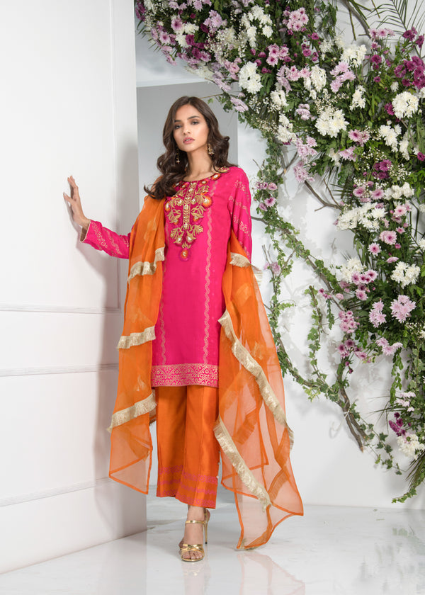 Luxury Pret, Pakistani Fashion Designer RUBY PINK - Phatyma Khan