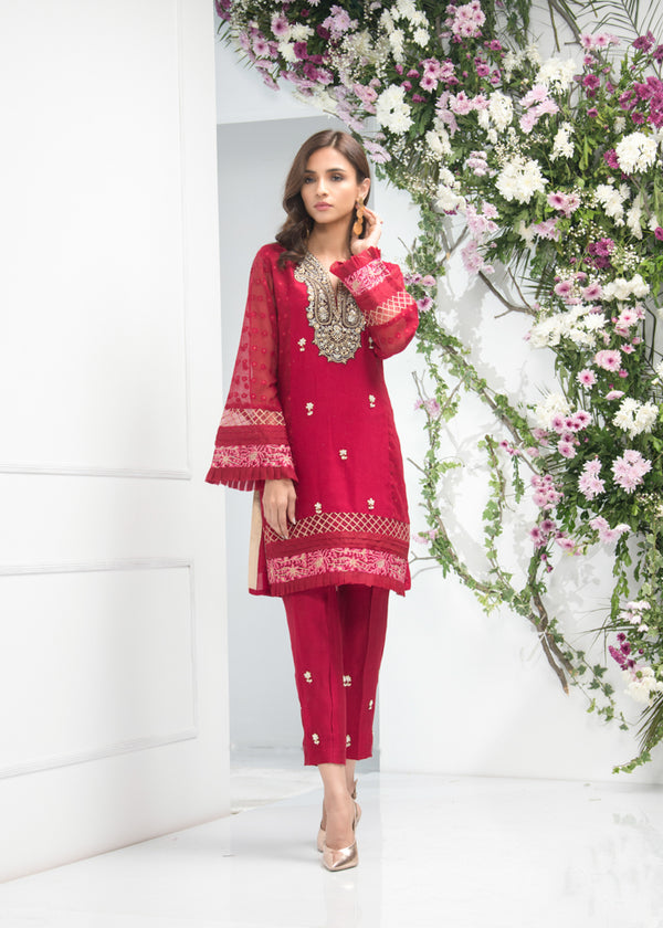 Luxury Pret, Pakistani Fashion Designer BURGUNDY RED - Phatyma Khan