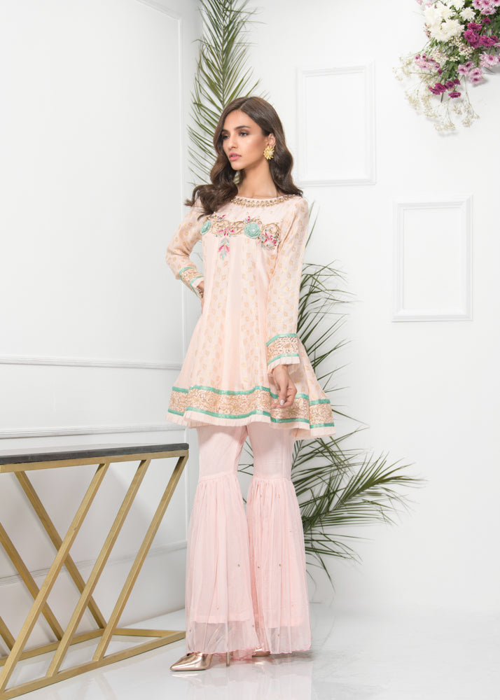 Luxury Pret, Pakistani Fashion Designer SORBET PEACH - Phatyma Khan