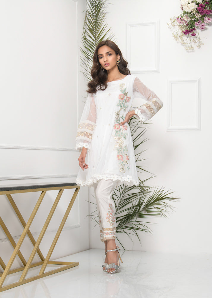 Luxury Pret, Pakistani Fashion Designer WHISPER WHITE - Phatyma Khan