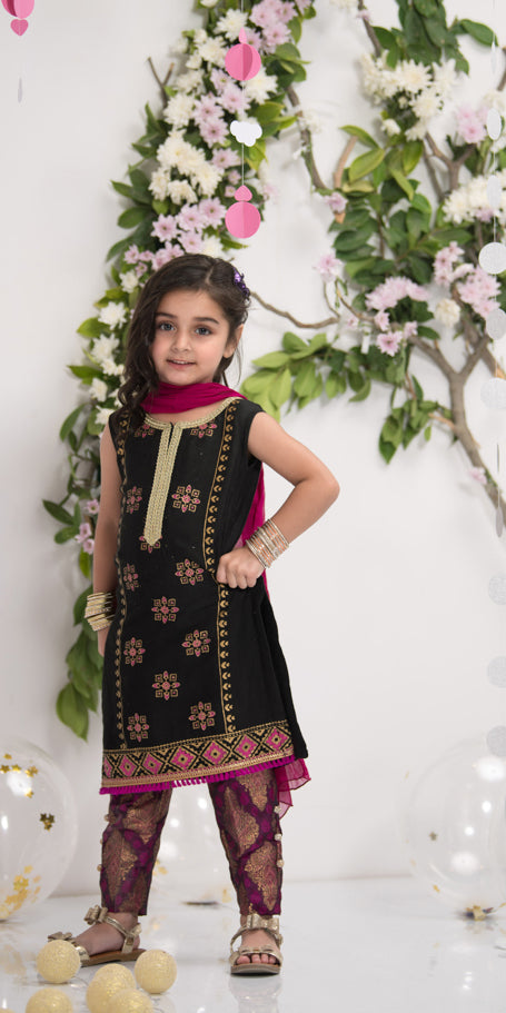Luxury Pret, Pakistani Fashion Designer BLACK BLOCKPRINT - Phatyma Khan