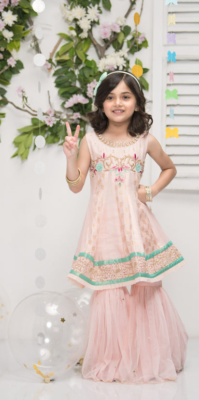 Luxury Pret, Pakistani Fashion Designer MINI SORBET PEACH - Phatyma Khan