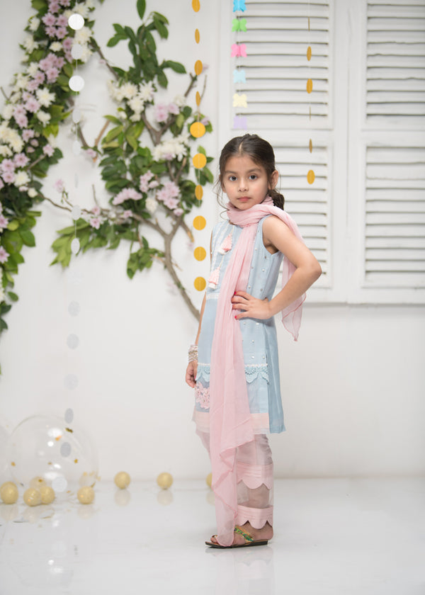 Luxury Pret, Pakistani Fashion Designer MINI ETHYL BLUE - Phatyma Khan