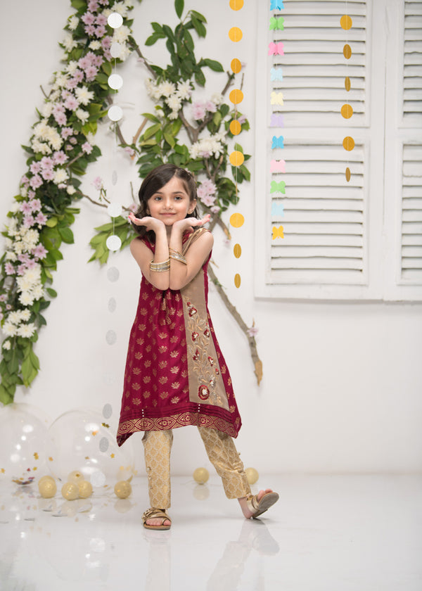 Luxury Pret, Pakistani Fashion Designer MINI CRIMSON GOLD - Phatyma Khan