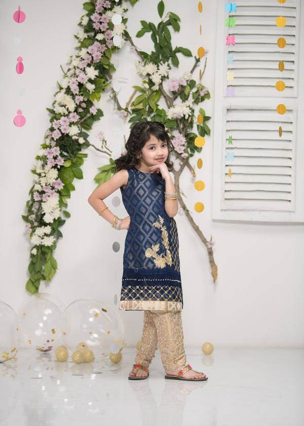 Luxury Pret, Pakistani Fashion Designer MINI MOSAIC BLUE - Phatyma Khan