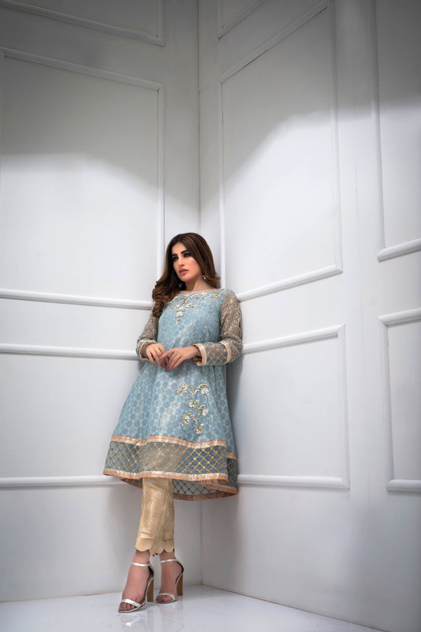Luxury Pret, Pakistani Fashion Designer CRYSTAL BLUE - Phatyma Khan
