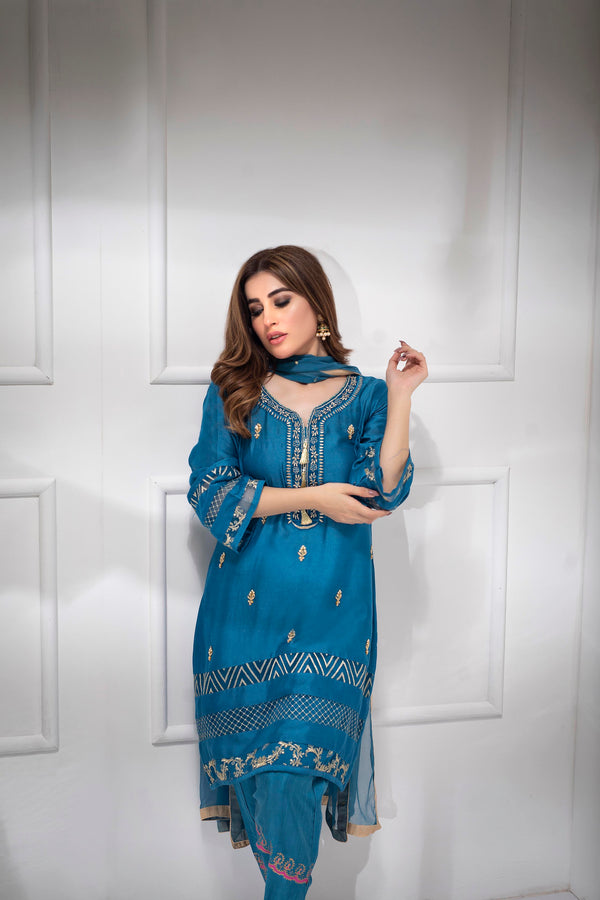 Luxury Pret, Pakistani Fashion Designer LAPIS BLUE - Phatyma Khan