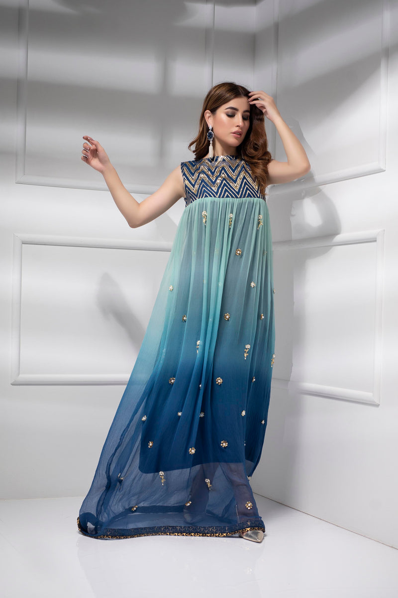 Luxury Pret, Pakistani Fashion Designer DAZZLING BLUE - Phatyma Khan