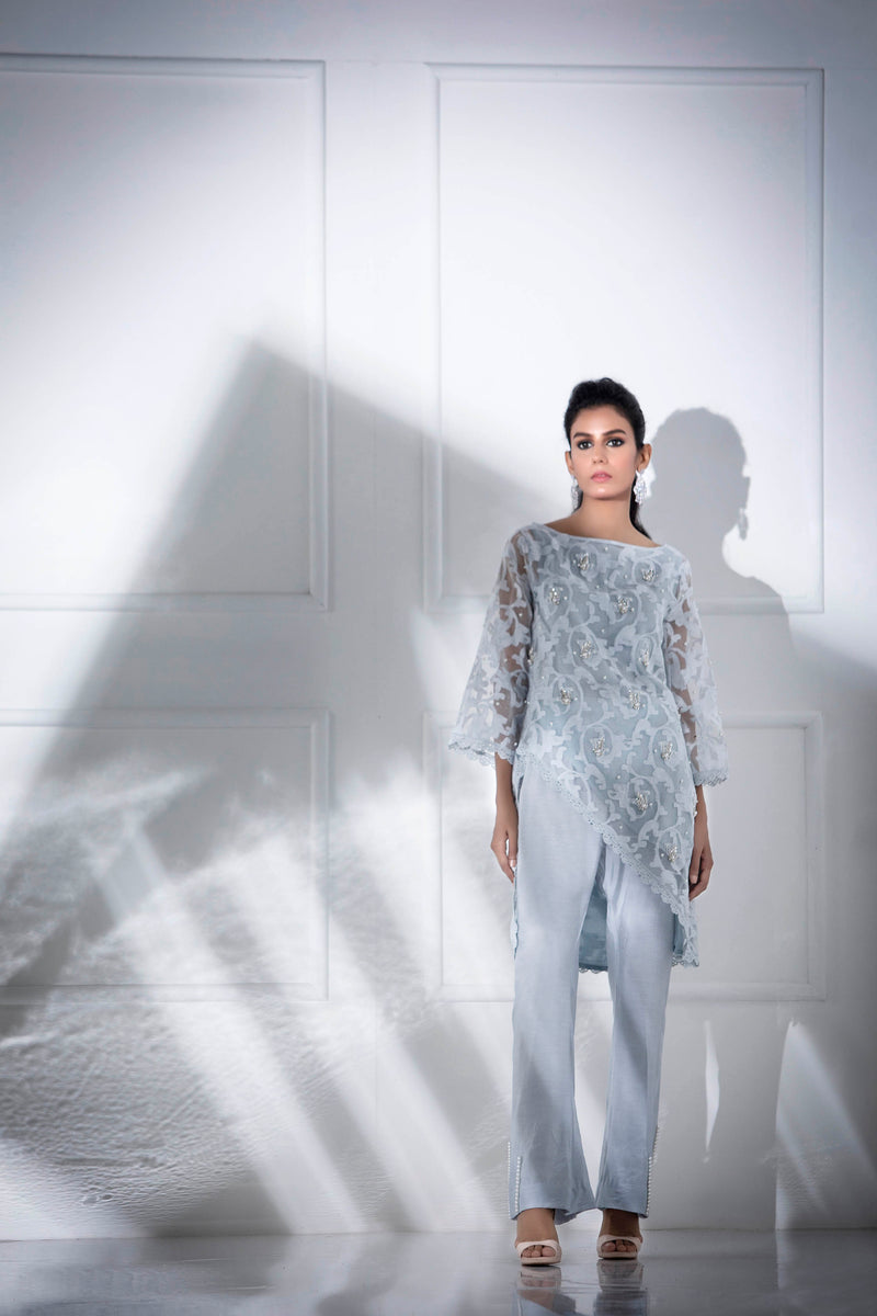 Luxury Pret, Pakistani Fashion Designer MESMERIC BLUE - Phatyma Khan