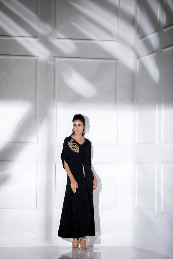 Luxury Pret, Pakistani Fashion Designer JADE BLACK KAFTAN - Phatyma Khan