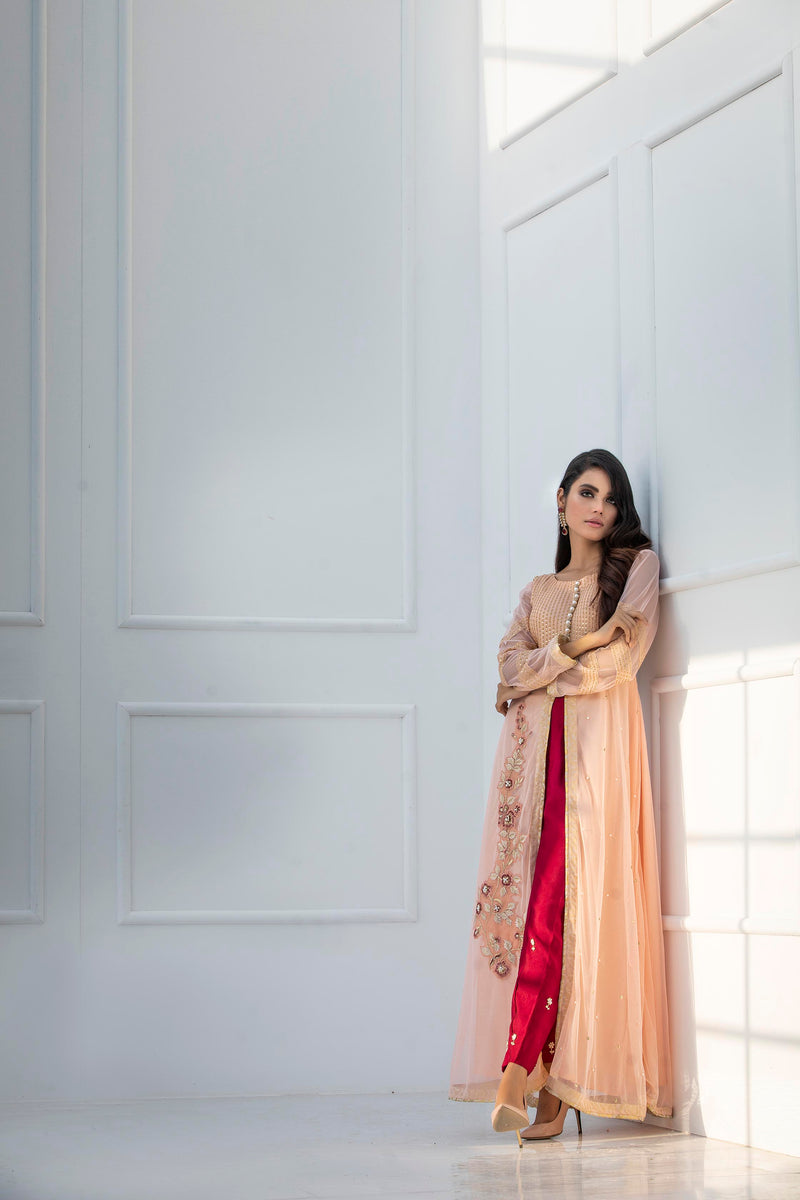 Luxury Pret, Pakistani Fashion Designer CANDLE PEACH - Phatyma Khan