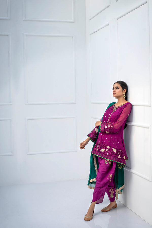 Luxury Pret, Pakistani Fashion Designer MULBERRY PURPLE - Phatyma Khan
