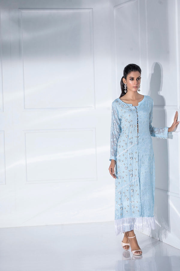Luxury Pret, Pakistani Fashion Designer MONACO BLUE - Phatyma Khan