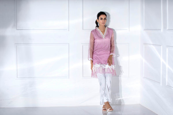 Luxury Pret, Pakistani Fashion Designer IRIS PINK - Phatyma Khan