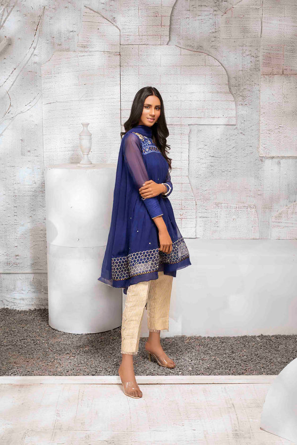 Luxury Pret, Pakistani Fashion Designer INDIGO PEPLUM - Phatyma Khan