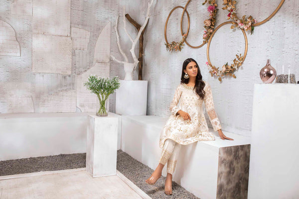 Luxury Pret, Pakistani Fashion Designer FROSTED WHITE - Phatyma Khan