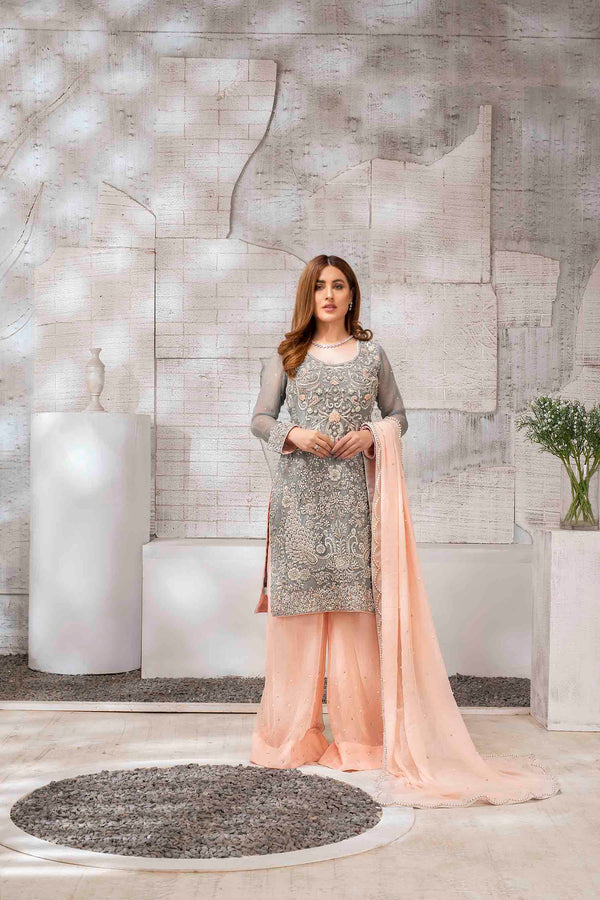 Luxury Pret, Pakistani Fashion Designer DAPPLE GREY - Phatyma Khan