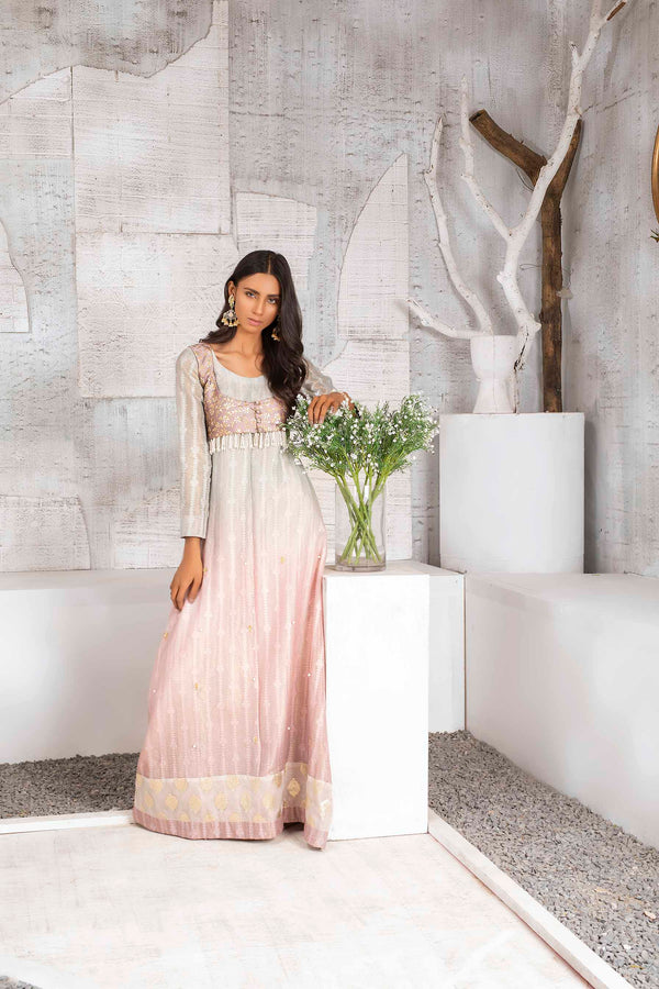 Luxury Pret, Pakistani Fashion Designer CHAMPAGNE PINK - Phatyma Khan