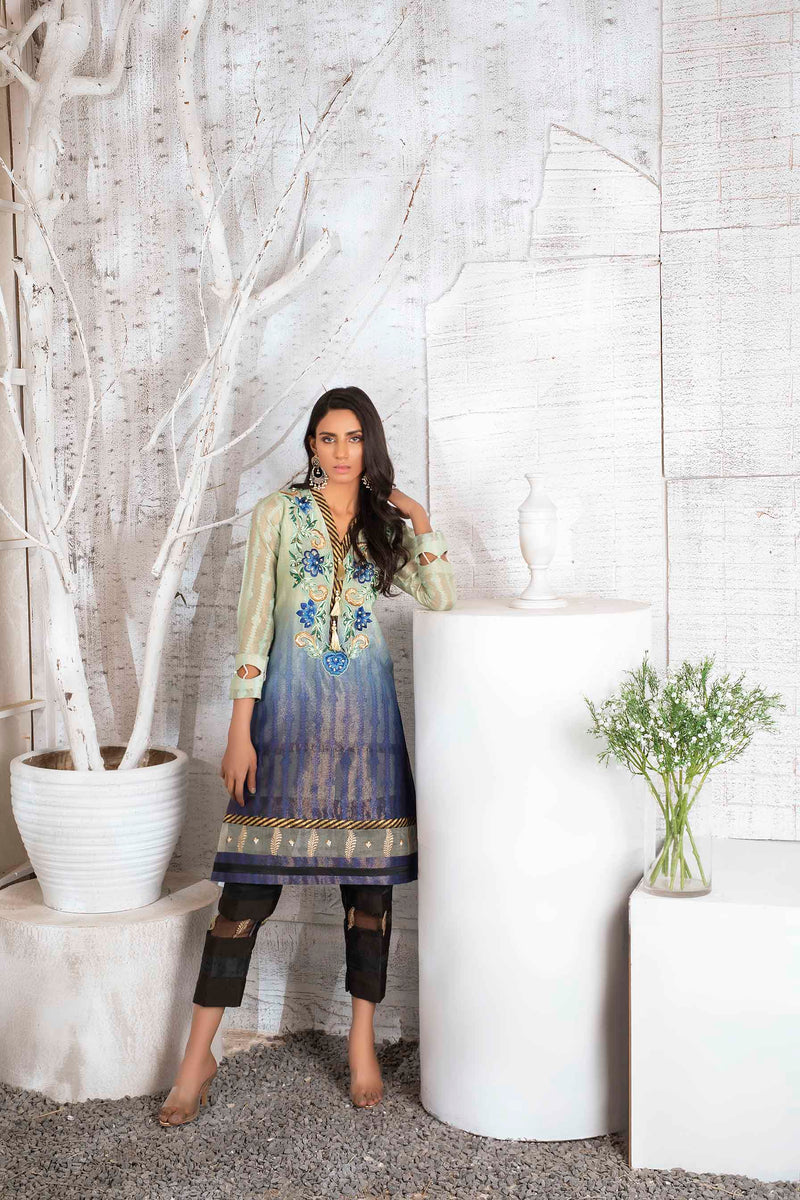 Luxury Pret, Pakistani Fashion Designer BLUE NOUVEAU - Phatyma Khan