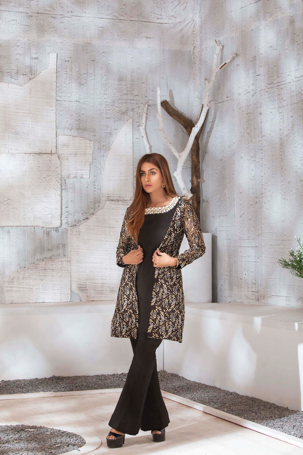 Luxury Pret, Pakistani Fashion Designer SHEER BLACK - Phatyma Khan