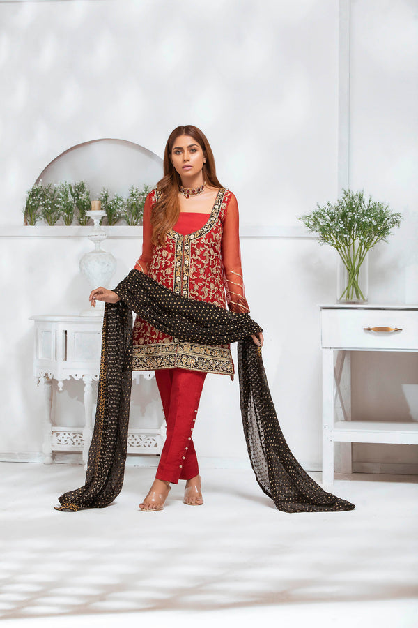 Luxury Pret, Pakistani Fashion Designer ASIAN RED - Phatyma Khan