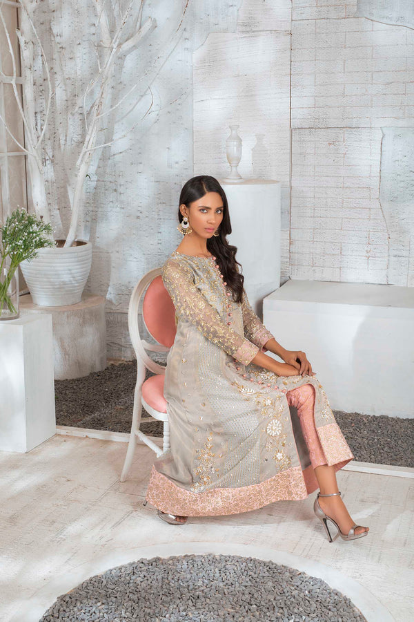 Luxury Pret, Pakistani Fashion Designer GLASS GREY - Phatyma Khan